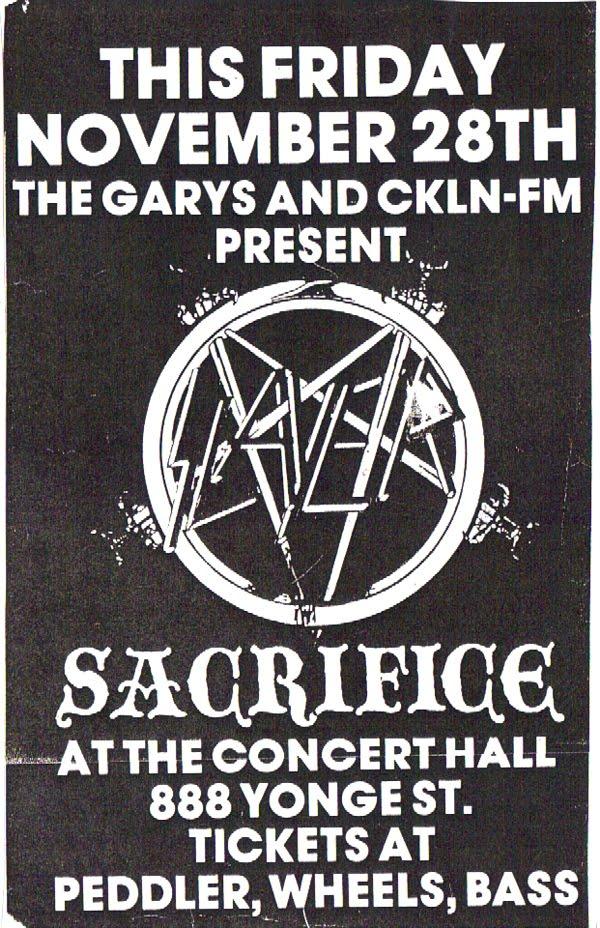 Slayer – Toronto, Larry's Hideaway October 27, 1984